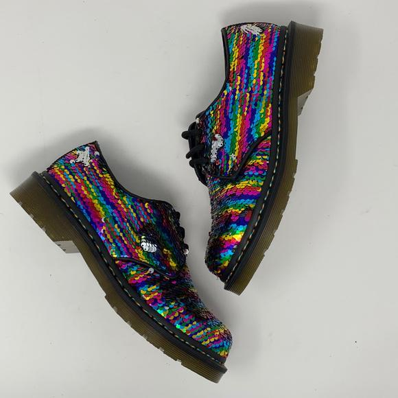 Dr Marten Sequin 461 Shoe Rainbow Multi
